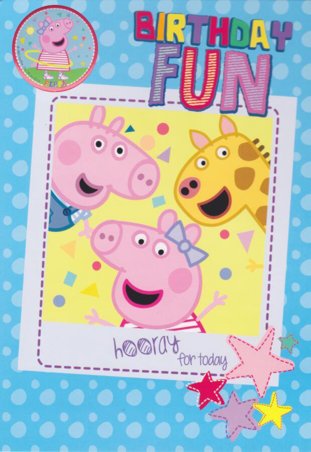 Peppa Pig Birthday Card With Badge