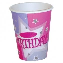 Birthday Pink Shimmer Party Cups