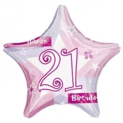 21st Birthday Pink Shimmer Party Foil Balloon.