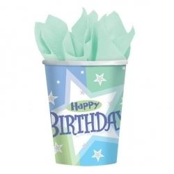 Birthday Blue Shimmer Party Cups