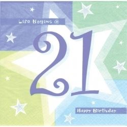 21st  Birthday Blue Shimmer Party Napkins
