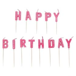 Happy Birthday Pink Glitter Letter Candles