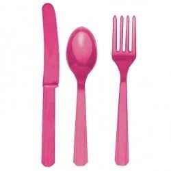 Hot Pink Cutlery Party Set