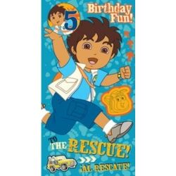 Go Diego Go Birthday Card Age 5 with Free Badge