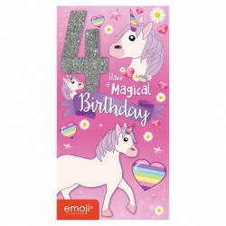 Unicorn Emoji Birthday Card Age 4
