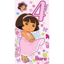Dora The Explora Birthday Card Age 4 With Free Badge