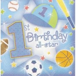 1st Birthday All Star Baby Boy Party Napkins