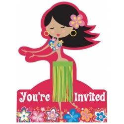 Luau Hula Hula Party Invitations