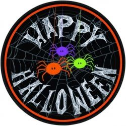 Spider Frenzy Happy Halloween Party Plate