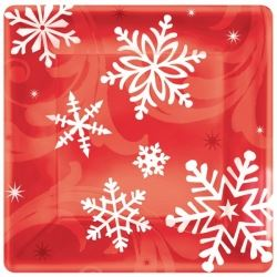 Elegant Entertaining Red Christmas Party Lunch Plates