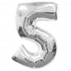 Silver Supersized Foil Balloon Number 5