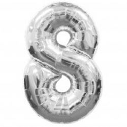 Silver Supersized Foil Balloon Number 8