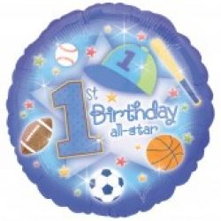 All Star 1st Birthday Boy Foil Balloon