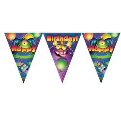 Monster Mania Happy Birthday Flag Banner
