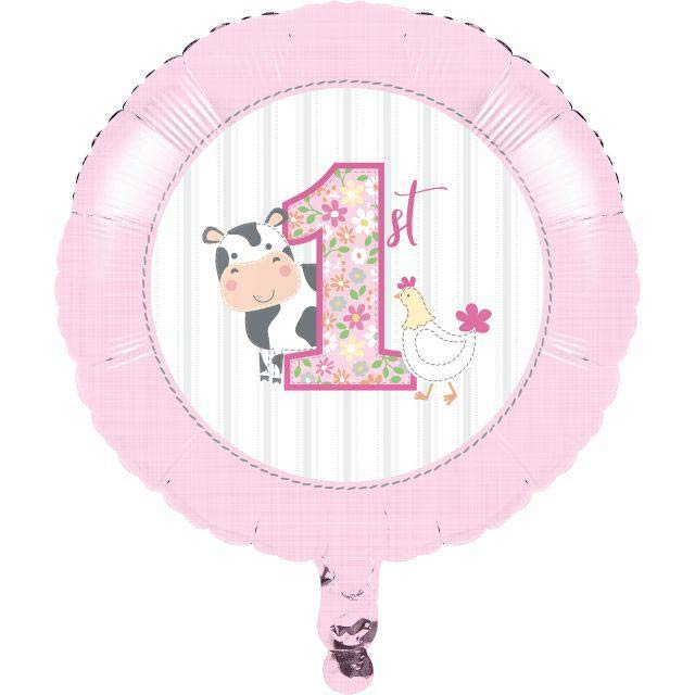 1st Birthday Farmhouse Pink Party Foil Balloon