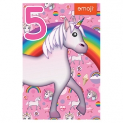 Unicorn Emoji Birthday Card Age 5