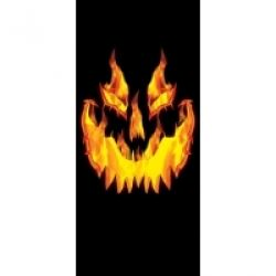Halloween Fiery Pumpkin Door Sign