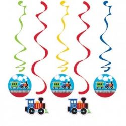 All Aboard Steam Train Party Dangler Decorations