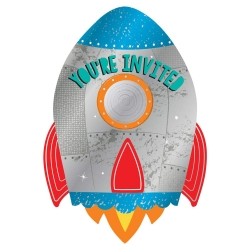 Blast Off Space Birthday Party Invitations With Stickers