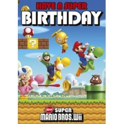 Super Mario Bros Wii Birthday Card