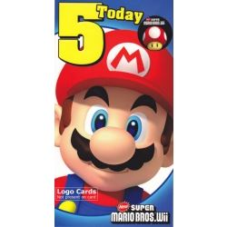 Super Mario Bros Wii Birthday Card Age 5 With Screen Wipe