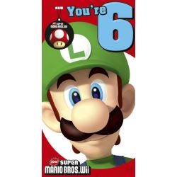 Super Mario Bros Wii Birthday Card Age 6 With Screen Wipe