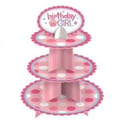 Sweet Little Cupcake Girl Birthday Party Cake Stand
