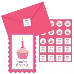 Sweet Little Cupcake Girl 1st Birthday Party Invitations