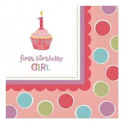 Sweet Little Cupcake Girl 1st Birthday Party Eco Napkins