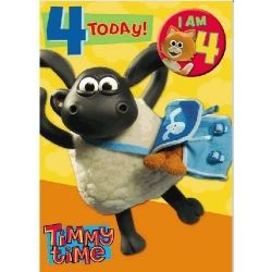 Timmy Time Happy Birthday Card Age 4 with Age Badge
