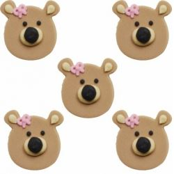 Teddy Bear Sugar Cake Decorations Pink