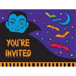 Halloween Party 3D Cloaks & Bats Invitations