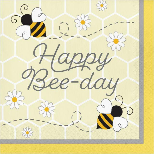 Bumblebee Baby Party Happy Be-Day Napkins
