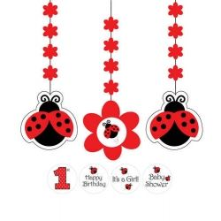 Little Ladybird Party Dangler Decorations