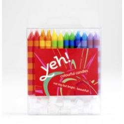 Rainbow Crayon Style Candles with Holders