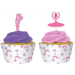 Tutu Much Fun Ballerina Party Cupcake Wraps and Toppers