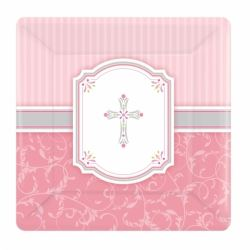 Radiant Cross Pink Party Luncheon Plates