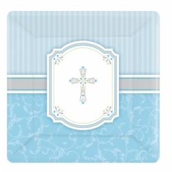 Radiant Cross Blue Party Luncheon Plates