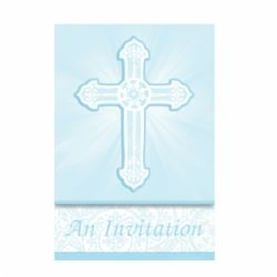 Radiant Cross Blue Party Invitations