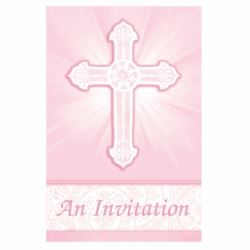 Radiant Cross Pink Party Invitations
