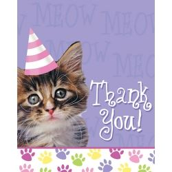 Purr-ty Time Cat Party Thank You Cards