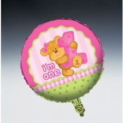 Bear's 1st Birthday Girl Party Foil Balloons