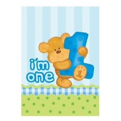 Bear's 1st Birthday Boy Party Tablecover