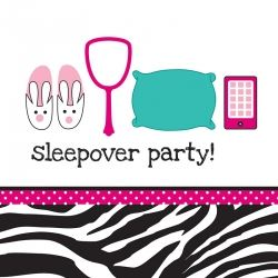 Pink Zebra Boutique Lunch Napkins Sleepover 3 Ply
