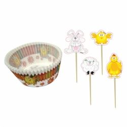 Easter Chick Party Cup Cake Cases & Toppers Kit