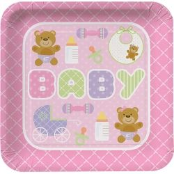 Teddy Baby Pink Party Plates