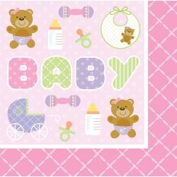 Teddy Baby Pink Party Napkins