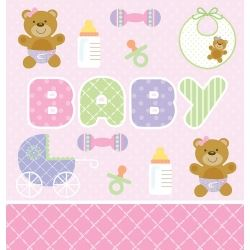 Teddy Baby Pink Party Tablecovers