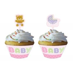 Teddy Baby Pink Party Cupcake Wrappers & Picks