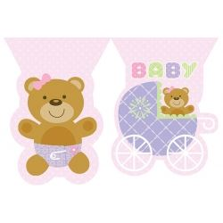 Teddy Baby Pink Flag Banner